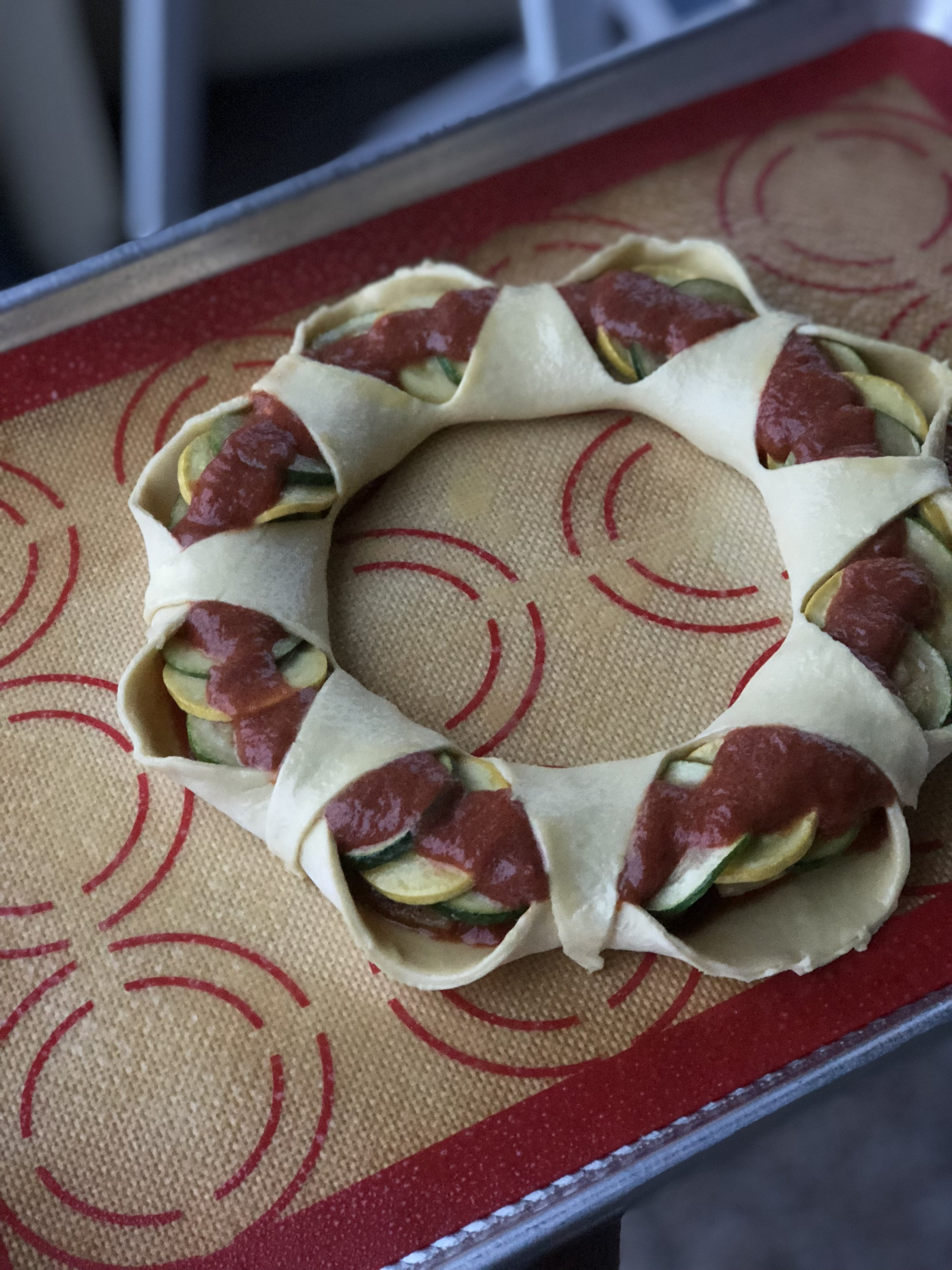 Unbaked wreath! Ready to chill and then pop into the oven.