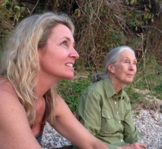 Keele and Jane Goodall in Gombe, Africa 2015
