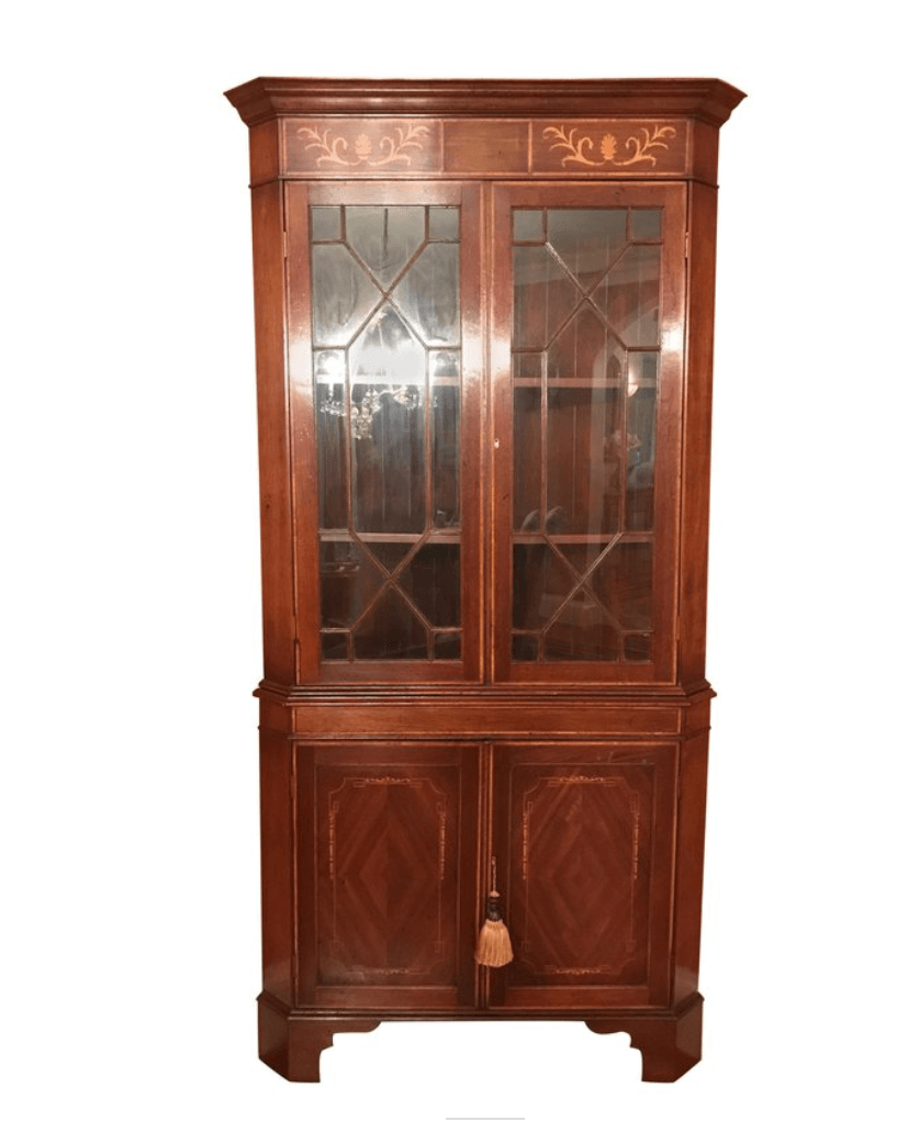 - Mahogany Double-Door Corner Cupboard