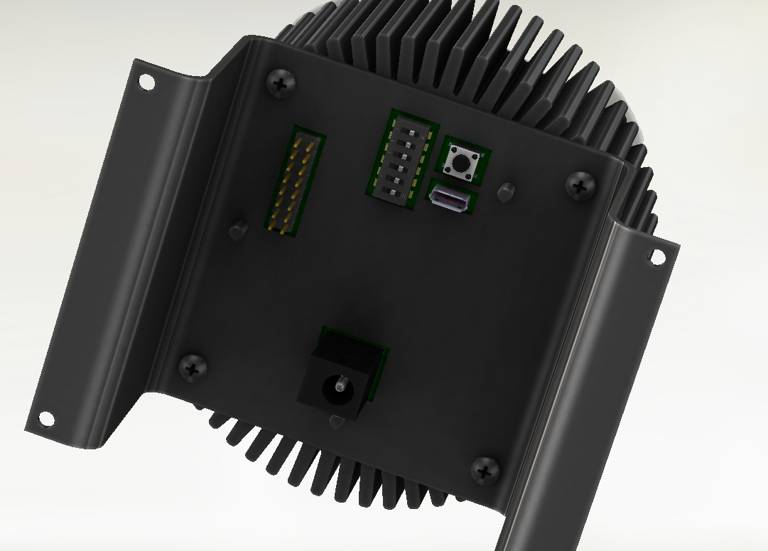 This shows the actual models of the connectors on themykilight in a solidworks rendering!   You can see here the barrel plug power, 16-pin expansion header for adding new functionality, a USB port for programming or communication, the reset button, and a 6-switch DIP switch you can use to easily change the behavior of the light based on programmed code.
