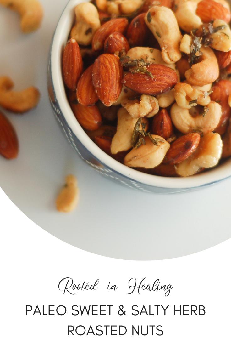 Paleo Sweet & Salty Herb Roasted Nuts