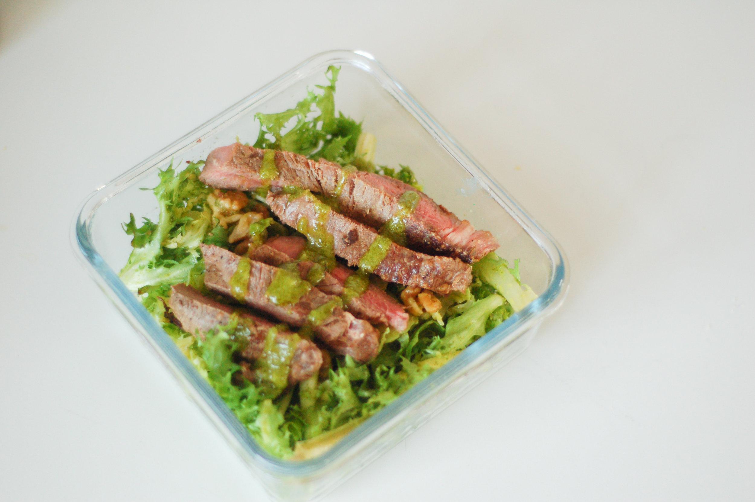 steak salad, chicken salad, endive salad, curly endive salad, green goddess, meal prep,