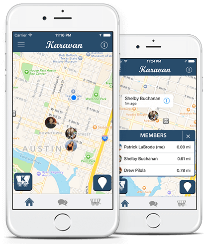 Karavan App - Karavan is a real-time location app that allows users to stay together and find each other at crowded festivals, bars, concerts, and crowded cities.Karavan users have access to a real-time group map that allows users to group up and find each other with ease.