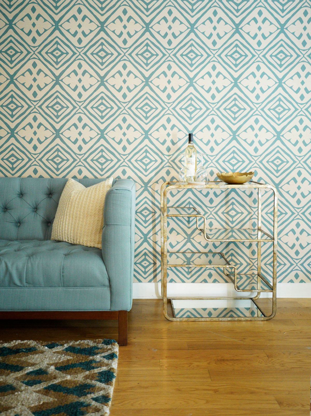 PRIVATE RESIDENCE     MUSTIQUE  GRASSCLOTH WALLPAPER  KINGSTOWN JUTE HANDKNOTTED CARPET BROOKLYN, NY