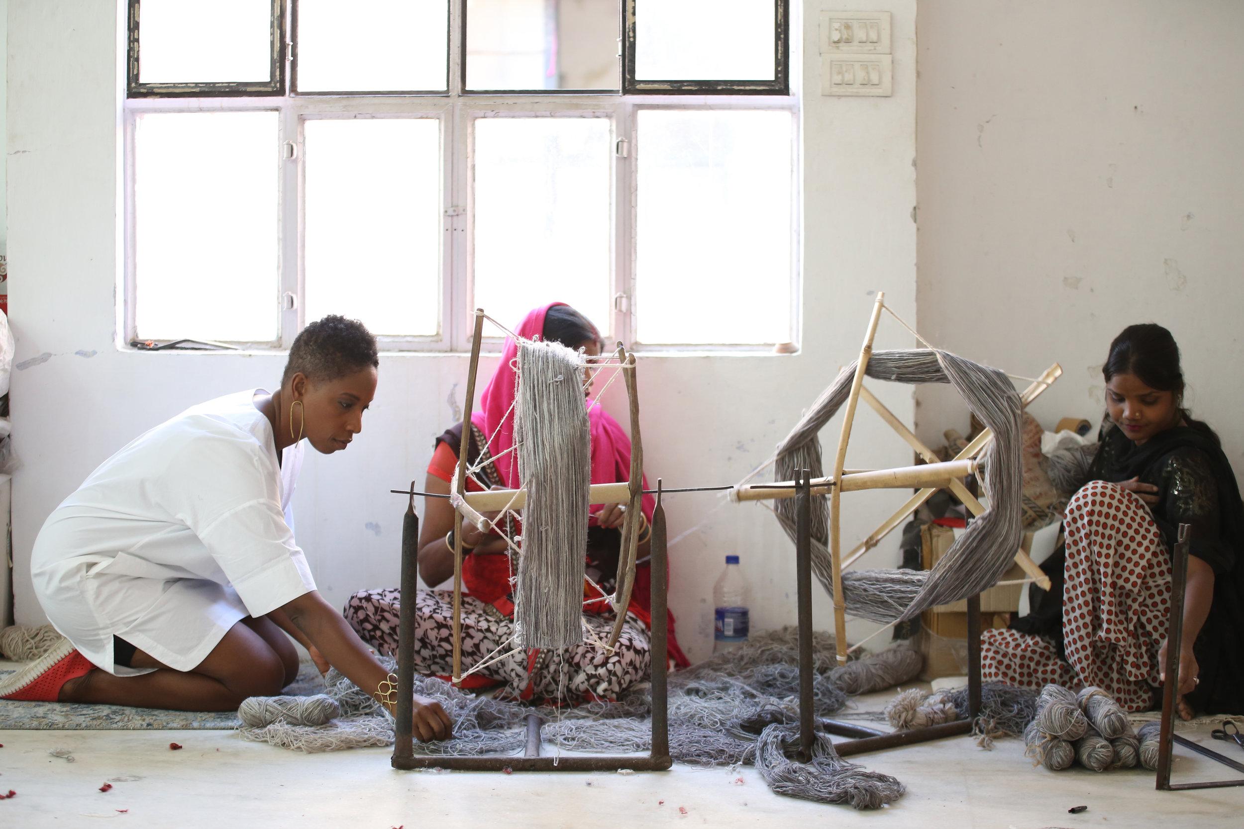 each yarn is hand spun in bundles