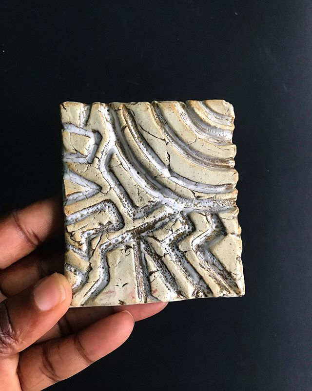 Yes, it's a study in clay created in my studio space in #Brooklyn, NY but it's also the long lost fingerprint of an ancient people. Like rippled sand, each groove is engraved through centuries of applied pressure. #testtiles #techniques . . . #handmadetiles #ceramictiles #tiles #stoneware #clayart #pattern  #handmade  #handbuilding #clayart #clay #ceramic #glaze #artisan  #oneofakind #decorative #functionalart #drawingwhileblack #blackpotter #blackartist #blackpottery #handbuiltceramics #handbuiltpottery #ceramicart #ceramicartist #stonewarepottery