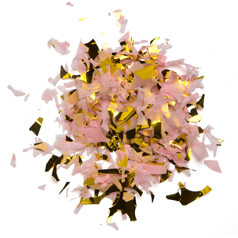 Confetti i färgerna rosa och guld