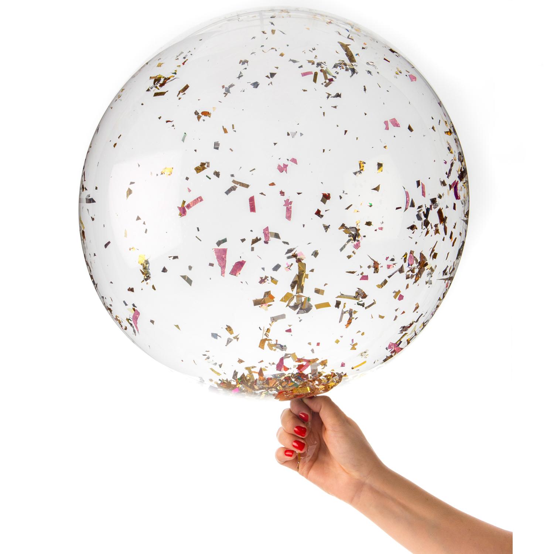 Stor confettiballong med rosa guld confetti i