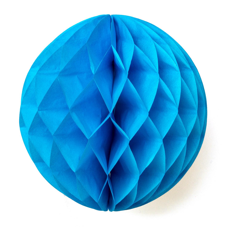 Blå honeycomb / blå pompom
