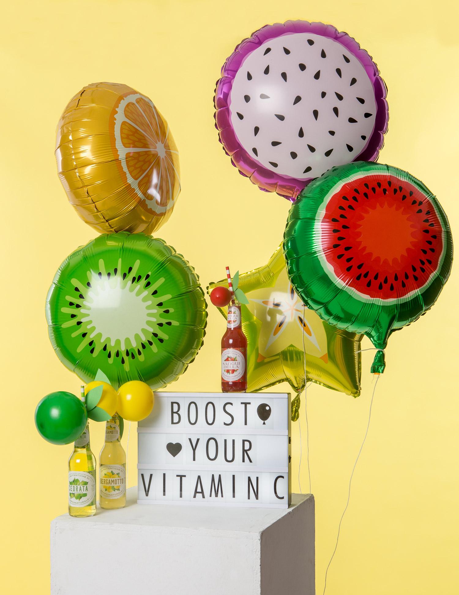 Energiboosta och dekorera party och kalas med en fruktklase av våra frukt ballonger i folie