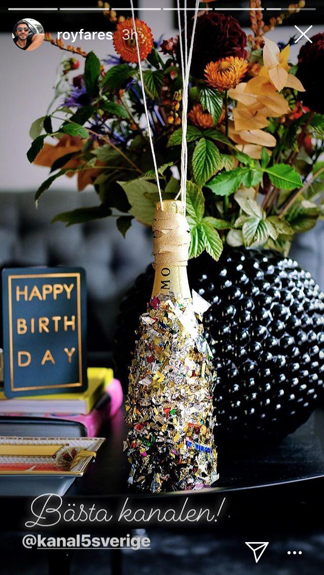 konfetti inklädd champagneflaska Roy Fares Instagram