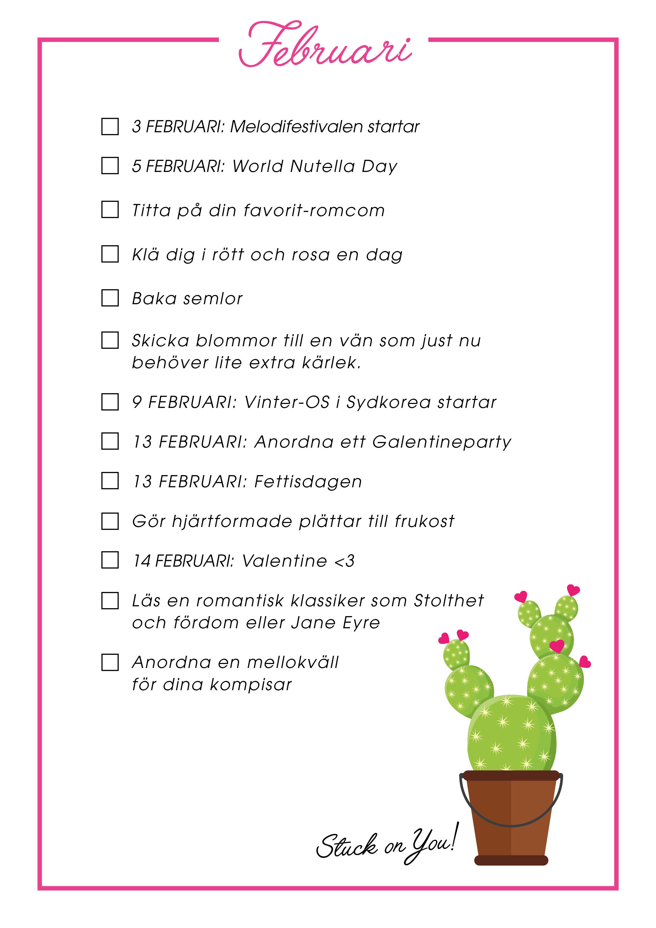 februari bucket list