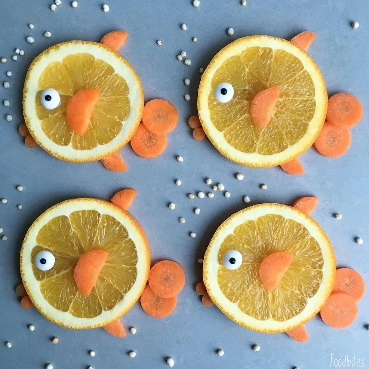 Foodbites apelsiner och morötter ihopsatta som fiskar