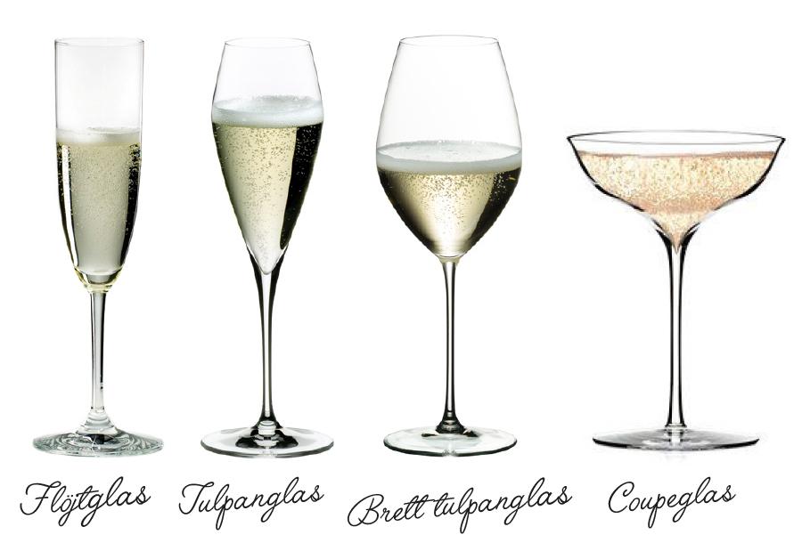olika sorters champagneglas