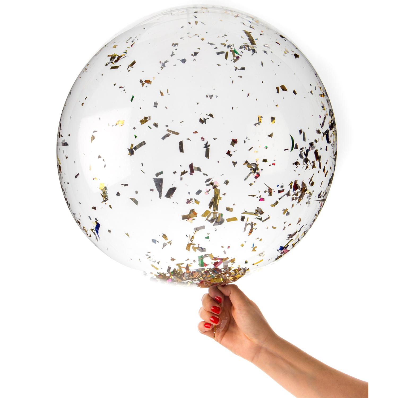 ingen fest utan ballonger och konfetti så givetvis är vår stora guld confettiballong en ultimat dekoration för party och bröllop