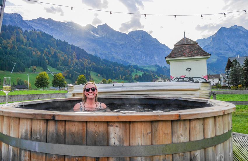 okroberfest på Skilodge Engelberg bada badtunna