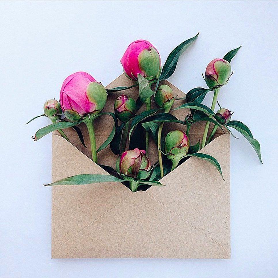 kuvert med blommor i