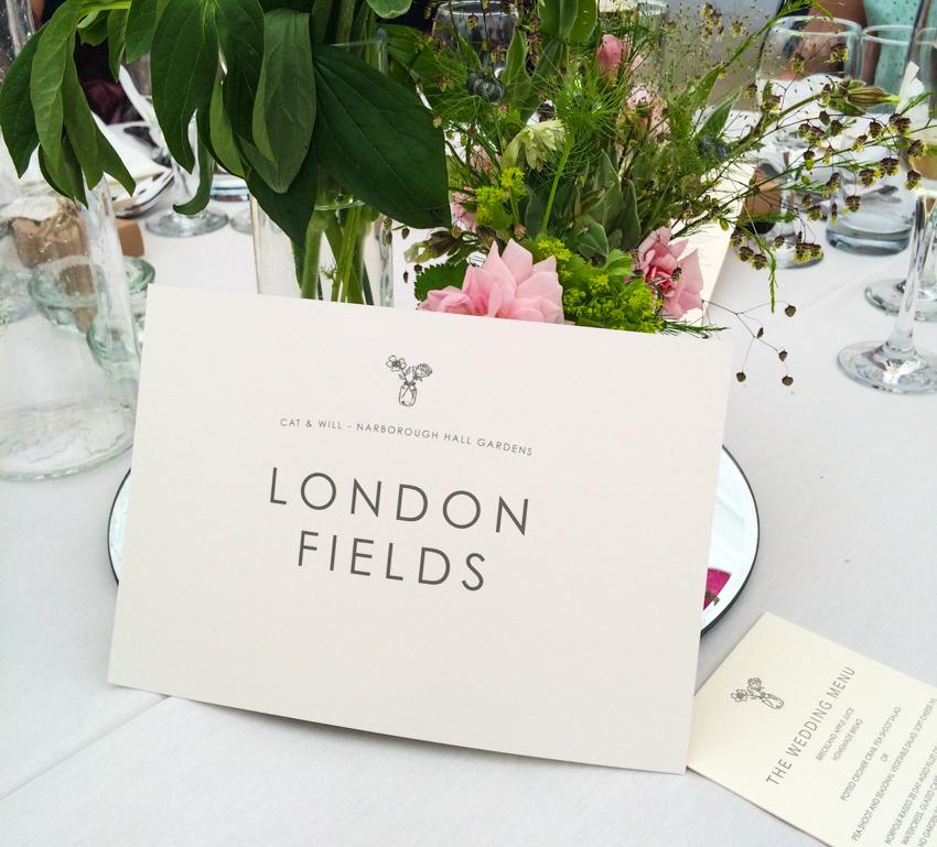 London fields bordsplacering på engelskt bröllop
