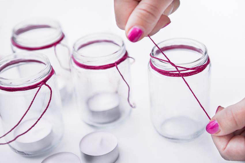 DIY hängande glaslyktor