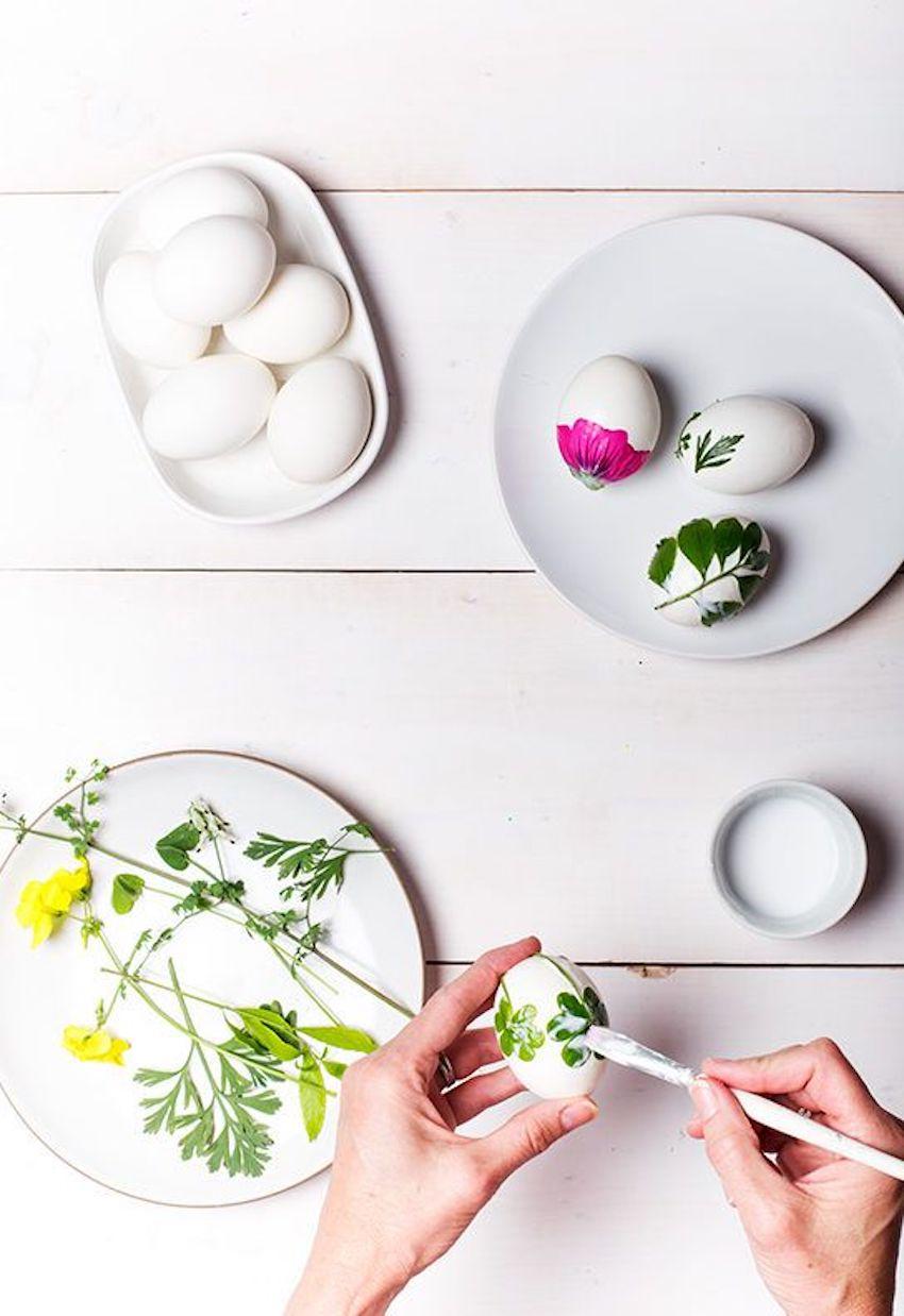 ägg med färska blommor på