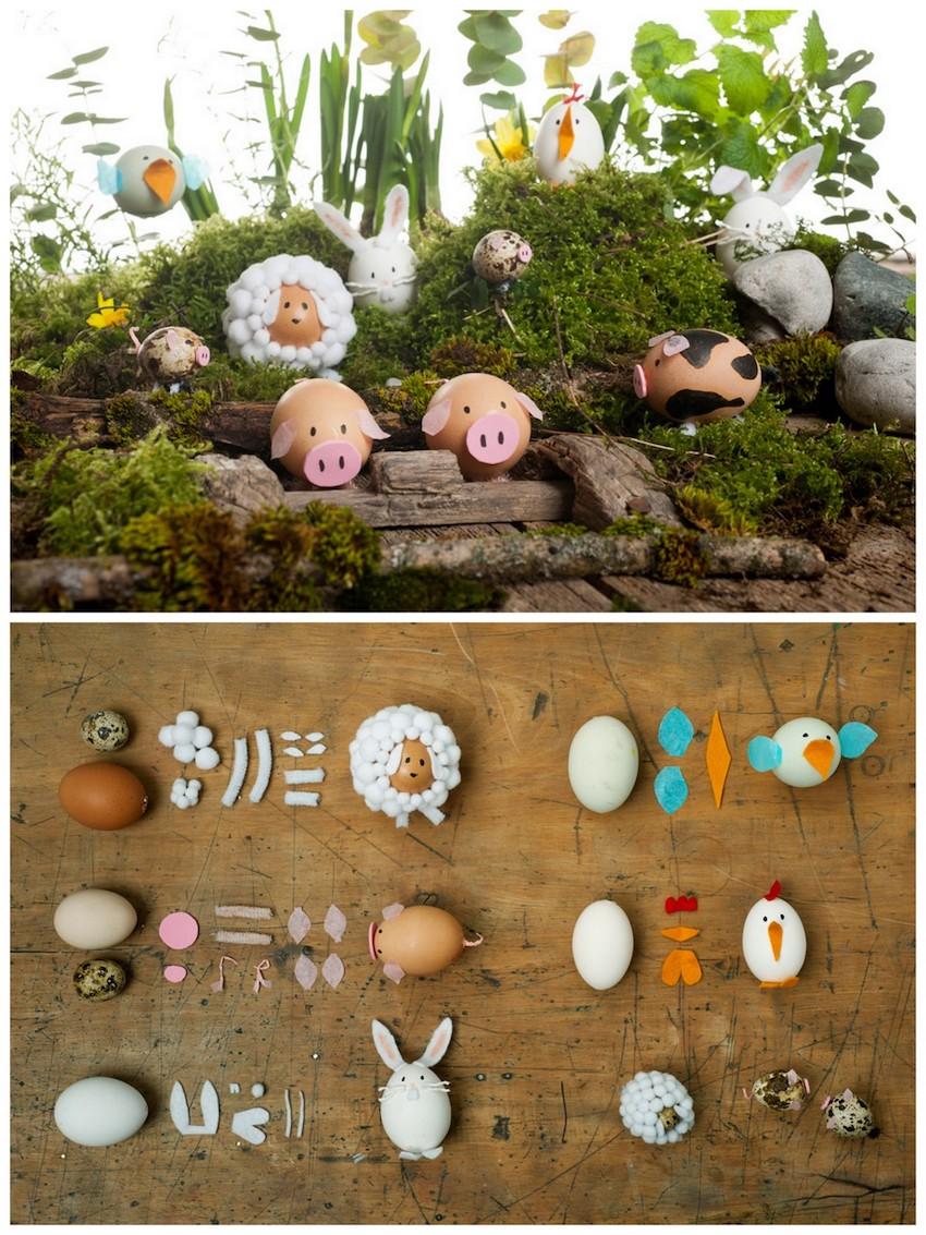 massor av roliga djur av ägg till påsk