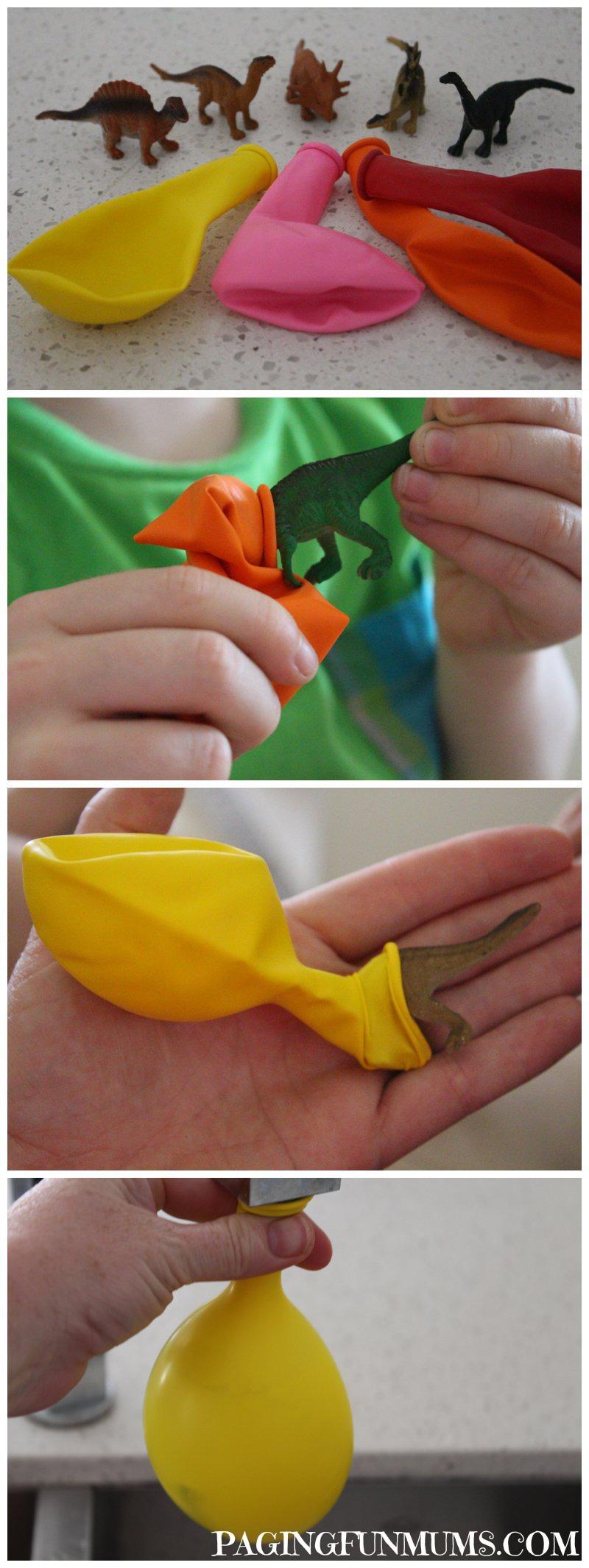 DIY frusna dinosaurie ägg av ballonger