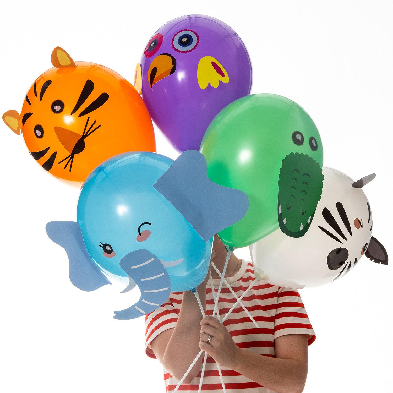 DIY-kit med djurballonger bestående av blå elefant, svart vit zebra, grön krokodil, lila papegoja och orange tiger ballonger