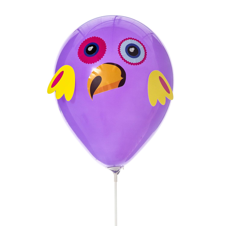 DIY-kit med djurballonger med lila papegoja ballong