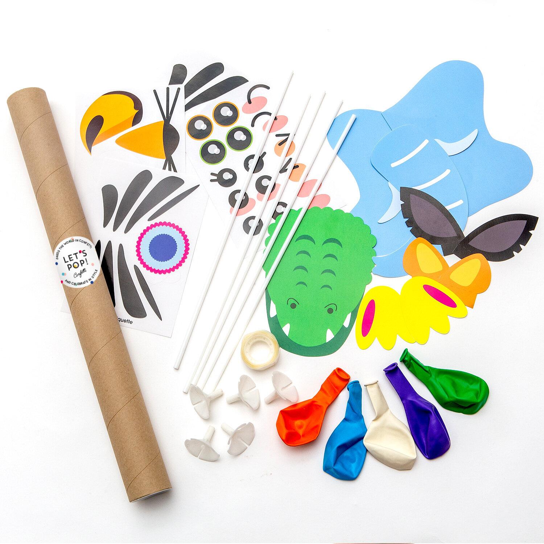 DIY-kit med djurballonger bestående av blå elefant, svart vit zebra, grön krokodil, lila papegoja, orange tiger ballonger