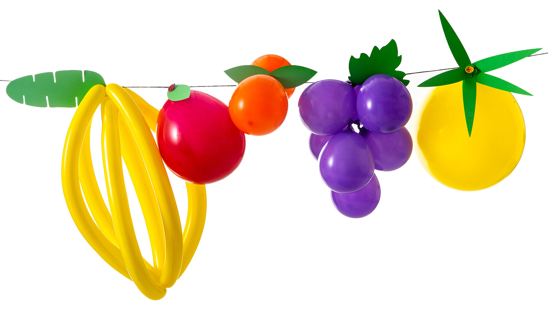 DIY-kit med fruktballonger, skapa med ballonger enkelt en tropisk girlang av frukter