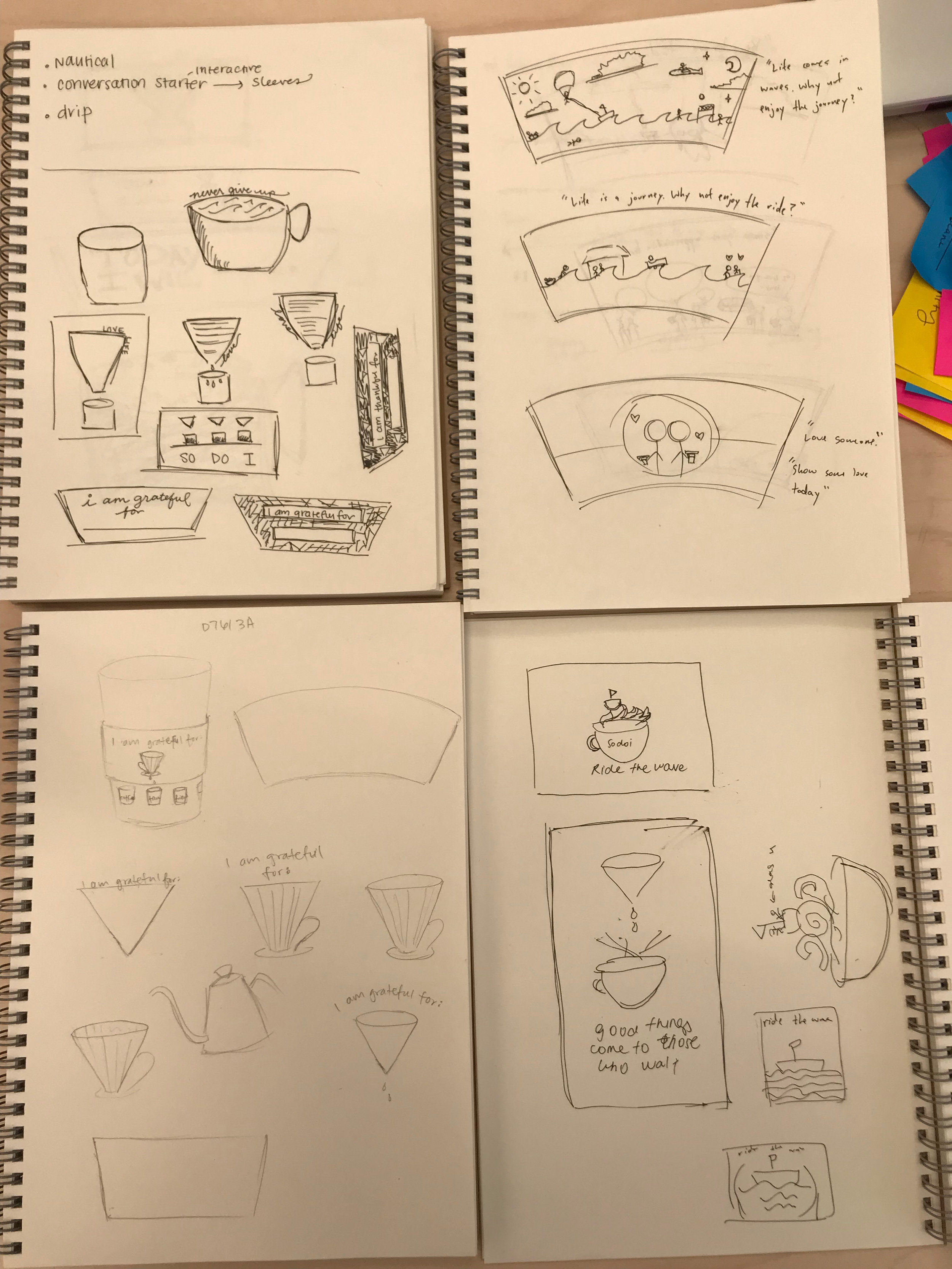 Some of the sketches from myself and my team members that served as inspirations for the final design.