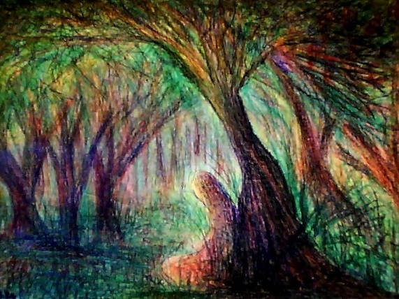 'The Figure in the Forest' Pastel on Paper