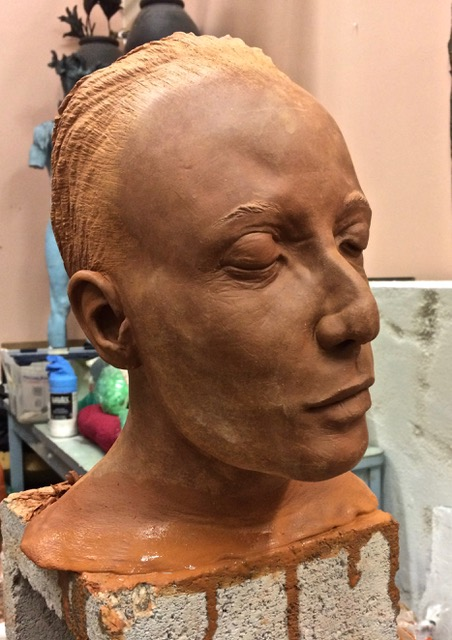 """Doug Jeck: """"Sister"""", terracotta.  Doug has donated 2 heads from his solo exhibition """"Body"""" at the Traver Gallery in Seattle, WA. est. Value: $3,200"""