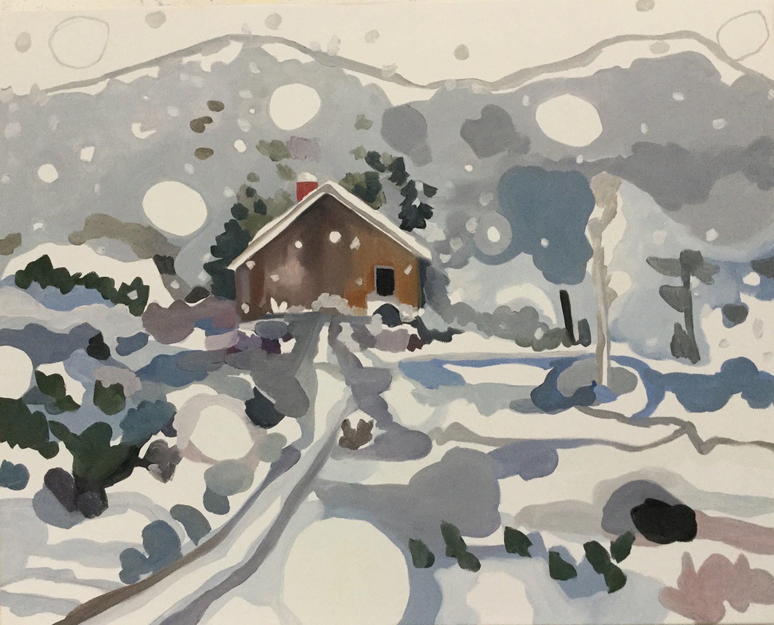 "Sheila Miles, ""Flying Snow""  oil & wax, est. value: $1,350"