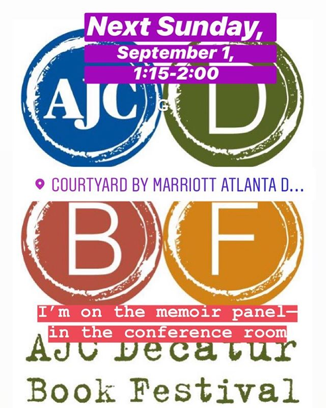"Yup! It's only one week away! . 📚 . Next Sunday, September 1st, I will be part of the AWC memoir panel at the Decatur Book Festival! . 📚❗️ . Find me from 1:15-2:00 in the auditorium of the Marriott Conference Center. . 📚 📚‼️ . I'll be talking about my collection of Reporter Newspaper columns, ""The Best of the Nest,"" on a panel moderated by the brilliantly talented @juliemcdermott1 . . 📚💙📚😀 . We'd love to see you there! . . . #dbf2019 #decatur #book #festival #bookfestival #bookevent #writerslife #authorsofinstagram #columnist #humormemoir #memoir #thebestofthenest"