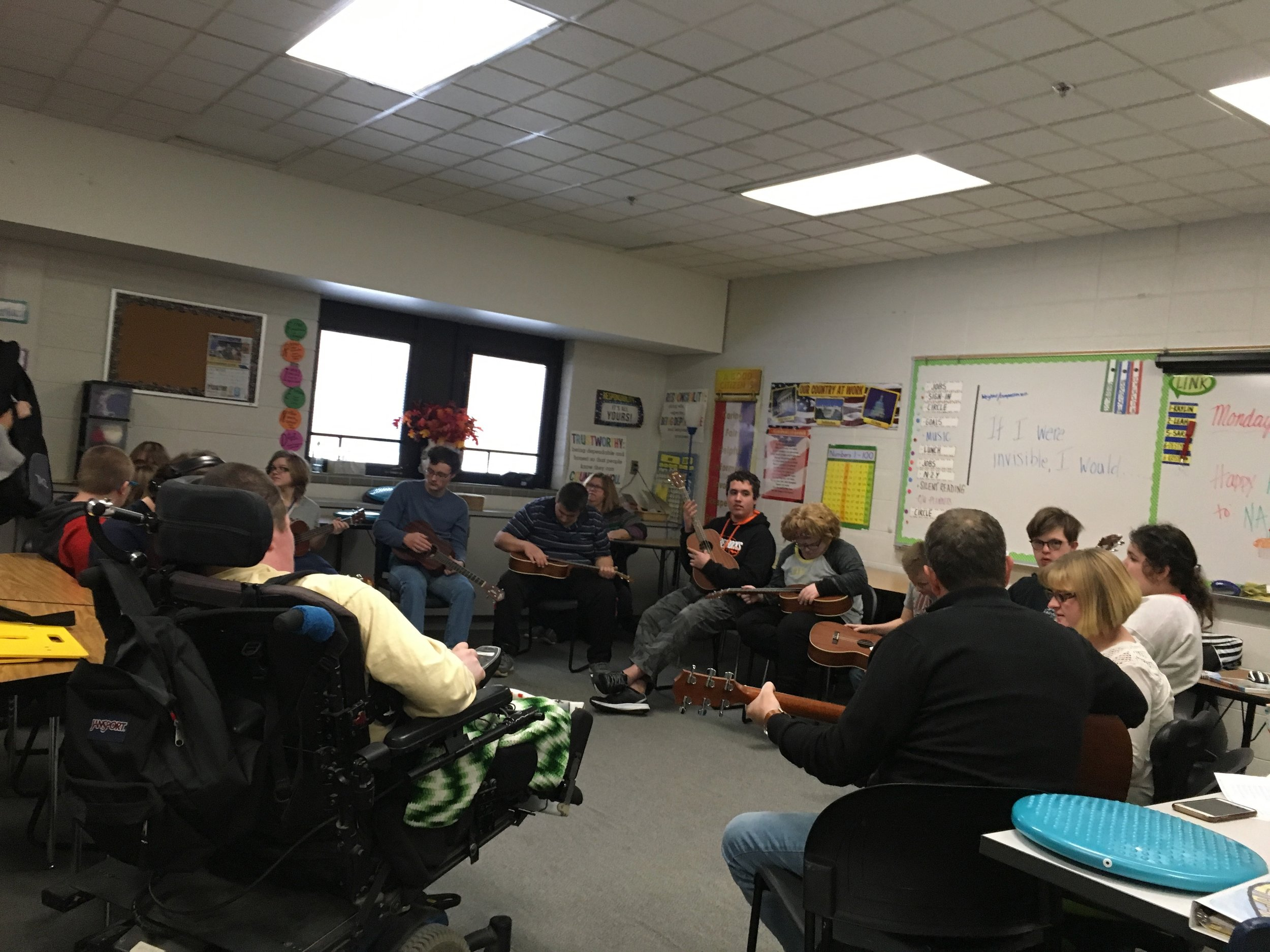 Music exploration class at Gaylord High School through VSA Michigan