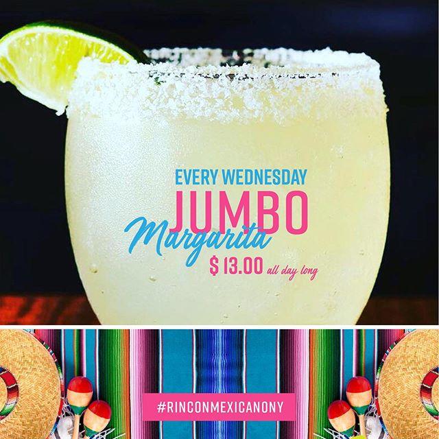 Every #humpday is #JumboMargarita special! 🍹// $ 13.00 #cheers // #rinconmexicano #rinconmexicanony