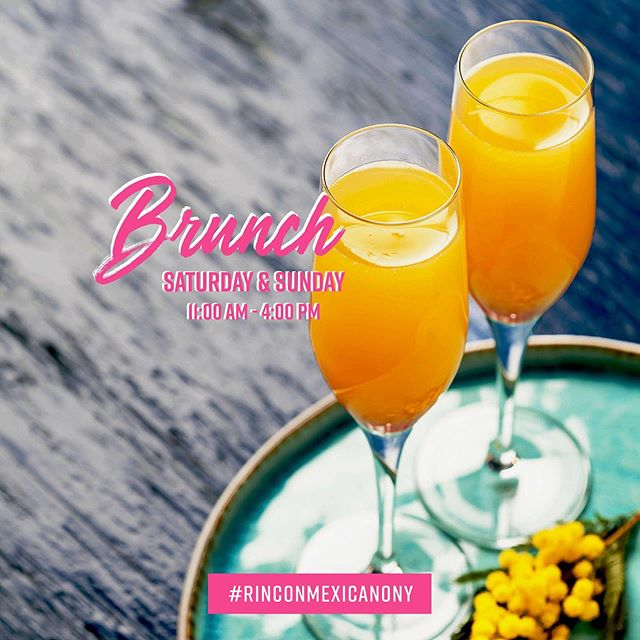 Let's #Brunch! // $ 5.95 #mimosas 🥂 #margaritas 🍹 & #bloodymary // Every #Saturday & #Sunday 11:00 am to 4:00 pm // #rinconmexicanony #rinconmexicano