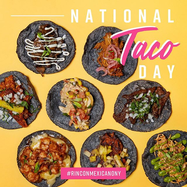 🌮 #nationaltacoday is Today! ✨ come and celebrate with us! #happyhour from 12:00 pm to 7:00 pm $ 5.95 #margaritas #mojitos #sangria #tequilasunrise $ 3.00 #beer 🍻 Cheers! #rinconmexicano #rinconmexicanony