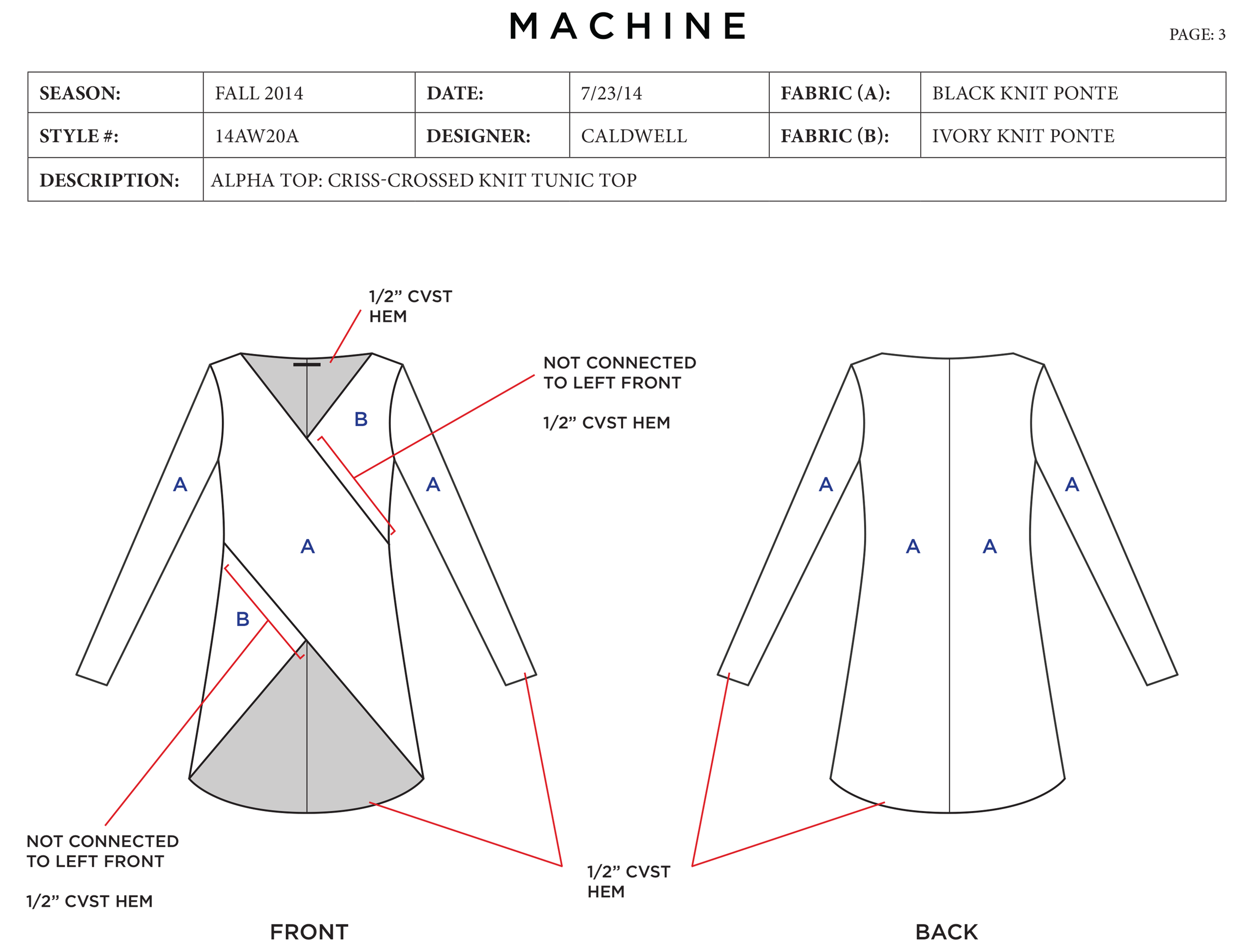 Tech pack for Machine Apparel's Alpha Top. Produced November 2014.
