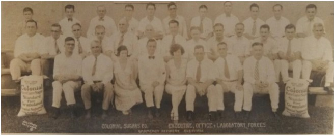 """Colonial Sugars """"Executive, Office and Laboratory Forces"""" taken in 1930."""