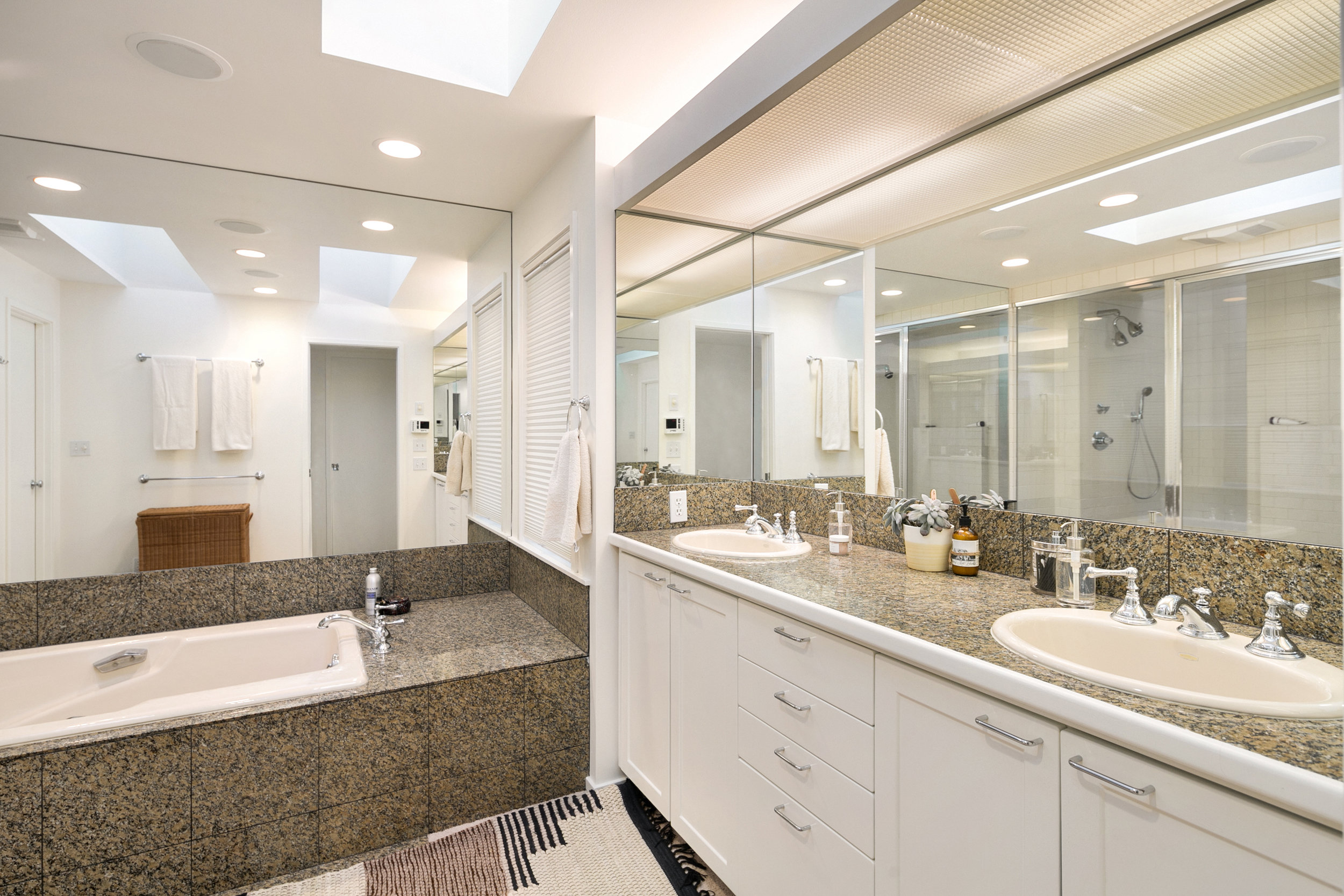 The master bath also features skylights, large shower and a generous soaking tub, ready for your personal design vision.
