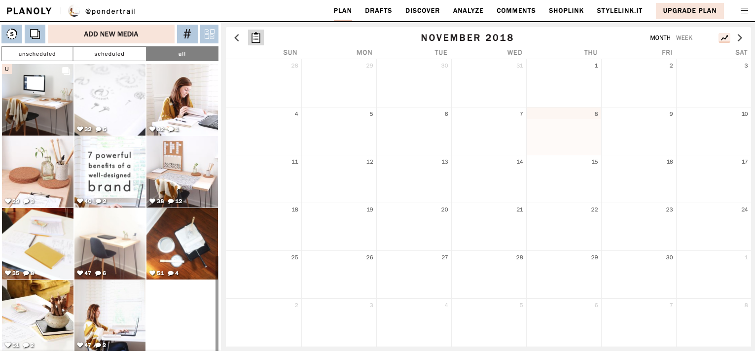 schedule instagram with plannoly