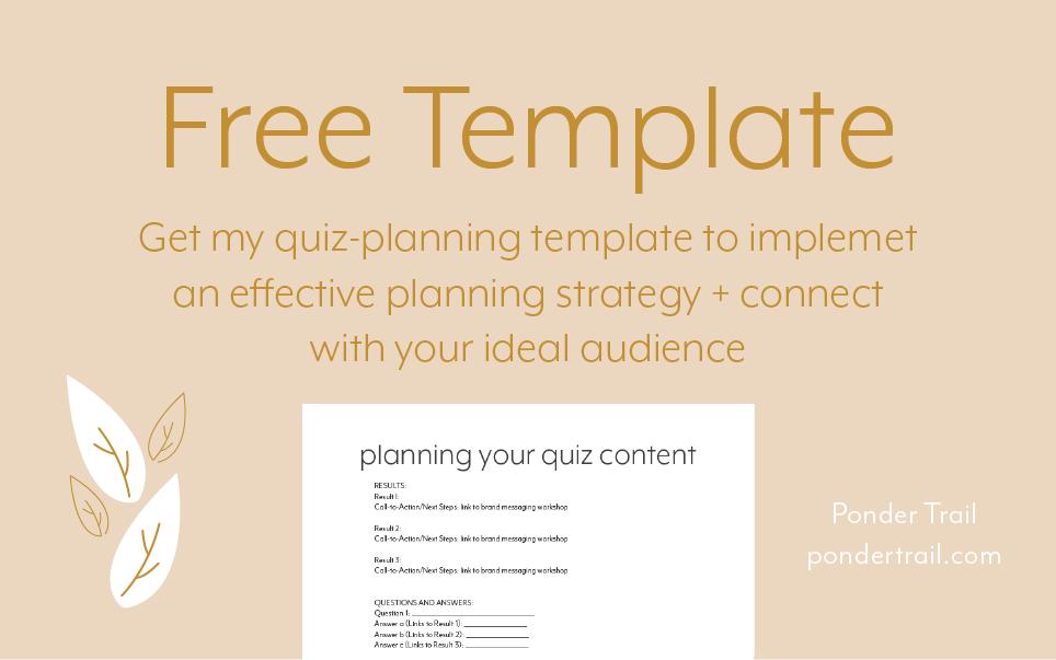 quiz planning template