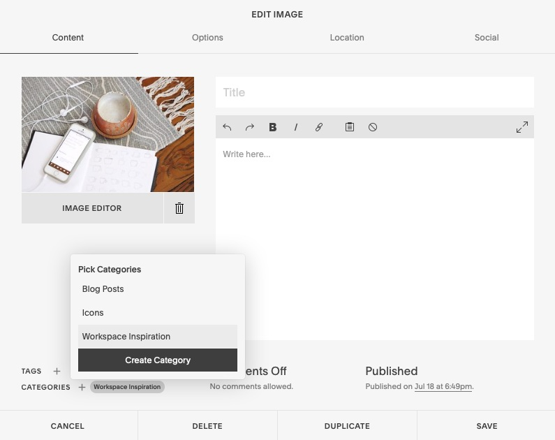 adding categories in Squarespace