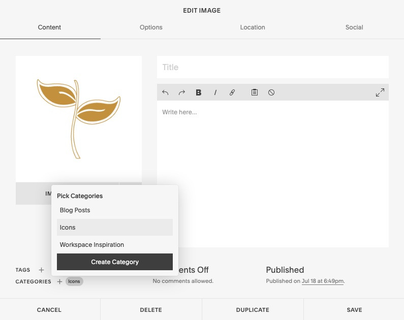 adding tags in Squarespace