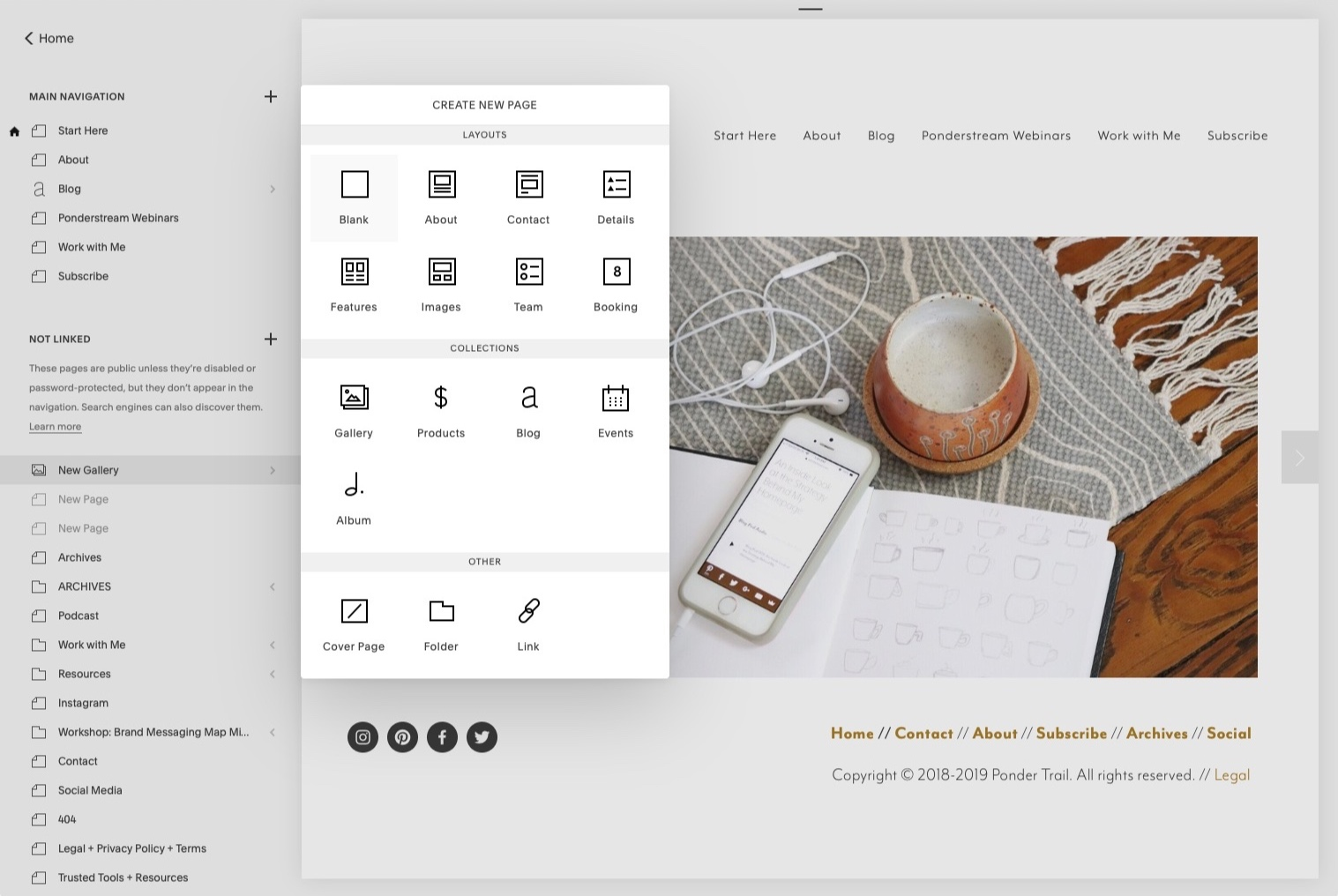 How to create a new page in Squarespace