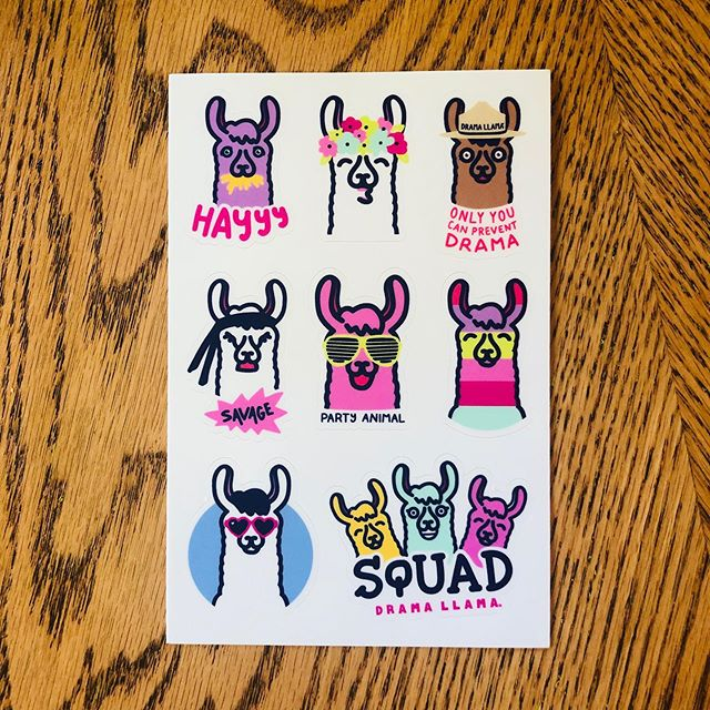 "Drama Llama ""Llama-ted Edition"" set of 8 stickers is made of the best selling designs! Get yours now...on Etsy! 😘 #dramallama #llama #llamastickers"