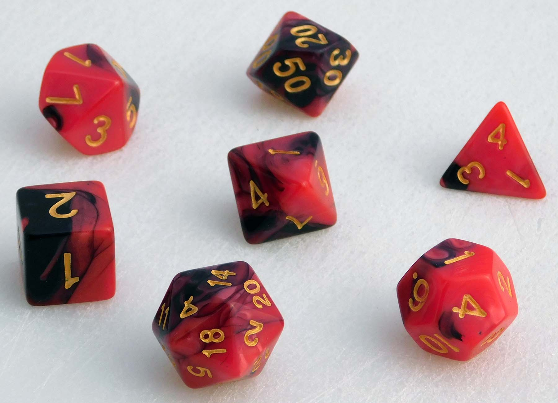 Fancy Marbled Dice Set - Red/Black