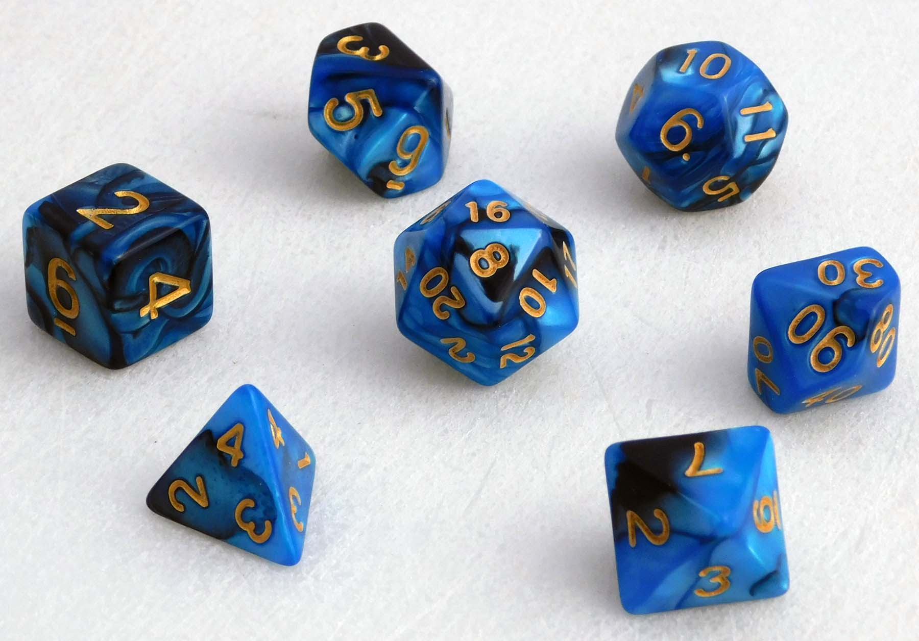 Fancy Marbled Dice Set -Blue/Black
